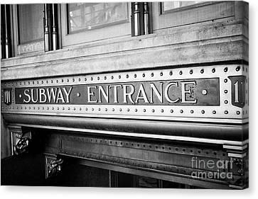 ornate subway entrance plaque trinity building New York City USA Canvas Print