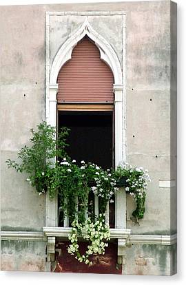 Canvas Print featuring the photograph Ornate Window With Red Shutters by Donna Corless