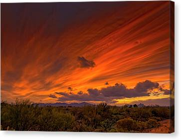 Canvas Print featuring the photograph Oro Valley Sunset H6 by Mark Myhaver