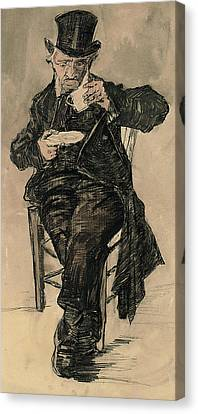 Orphan Man With A Top Hat Drinking A Cup Of Coffee Canvas Print by Vincent Van Gogh