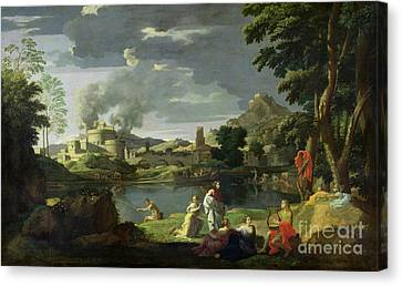 Orpheus And Eurydice Canvas Print by Nicolas Poussin