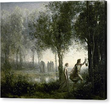 Orpheus Leading Eurydice From The Underworld Canvas Print by Jean-Baptiste-Camille Corot