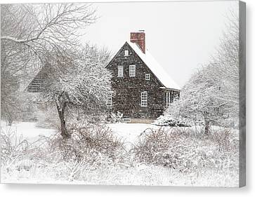 Orrs Island Home In A Snow Storm Canvas Print by Benjamin Williamson