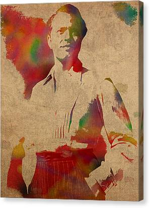 Orson Welles Citizen Kane Movie Star Actor Watercolor Portrait On Worn Distressed Canvas Canvas Print by Design Turnpike