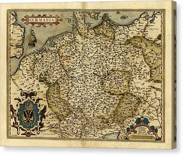 Ortelius's Map Of Germany, 1570 Canvas Print by Library Of Congress, Geography And Map Division
