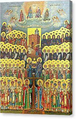 Icon Byzantine Canvas Print - Orthodox Holy Saints 1882 by Munir Alawi