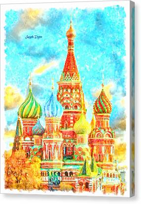 Ortodox Moscow  - Watercolor Style -  - Da Canvas Print by Leonardo Digenio