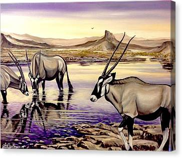 Oryx At Sunset Canvas Print by Art By Three Sarah Rebekah Rachel White
