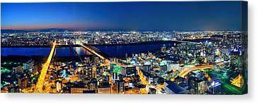 Osaka Night Rooftop View Canvas Print