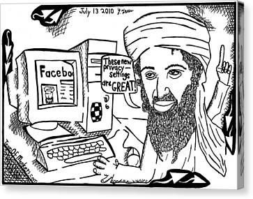 Terrorist Canvas Print - Osaman Bin Laden On Facebook By Yonatan Frimer by Yonatan Frimer Maze Artist