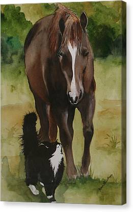 Oscar And Friend Canvas Print by Jean Blackmer
