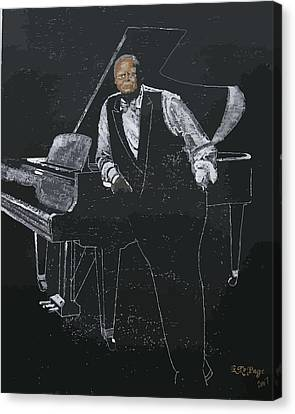 Canvas Print featuring the painting Oscar Peterson by Richard Le Page
