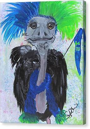 Ostrich Fan Canvas Print - Oscar The Ostrich by Susan Snow Voidets