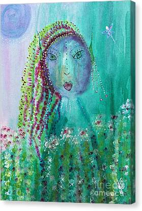 Canvas Print featuring the painting Ostara by Julie Engelhardt