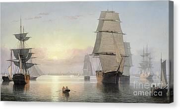 Boston Harbor, Sunset Canvas Print by Fitz Henry Lane