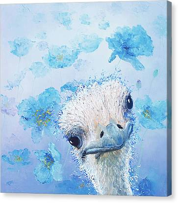 Ostrich In A Field Of Poppies Canvas Print by Jan Matson