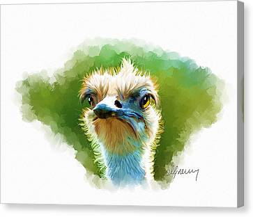 Ostrich Portrait Canvas Print by Michael Greenaway