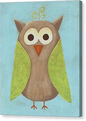 Otis The Owl Nursery Art Canvas Print by Katie Carlsruh