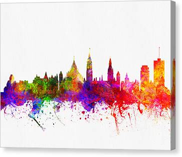 Ottawa Skyline Canvas Print - Ottawa Ontario Skyline Color02 by Aged Pixel