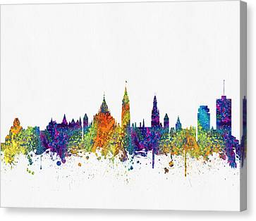 Ottawa Skyline Canvas Print - Ottawa Ontario Skyline Color03 by Aged Pixel