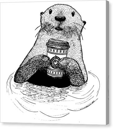 Otter Drinking Coffee Canvas Print by Karl Addison