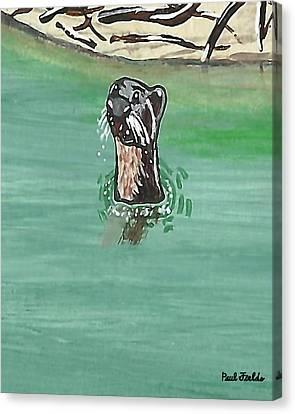 Otter In Amazon River Canvas Print