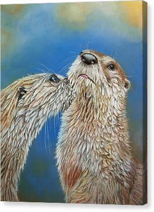 Canvas Print featuring the painting Otter Love by Ceci Watson