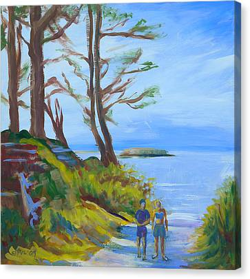 Otter Rock Marine Garden Path Canvas Print by Pam Van Londen