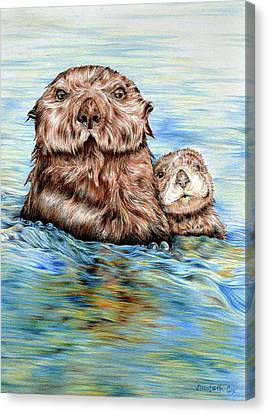 Otters At Sea Canvas Print by Elizabeth Cox