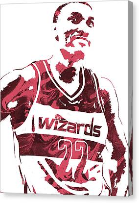 Otto Porter Washington Wizards Pixel Art 2 Canvas Print by Joe Hamilton