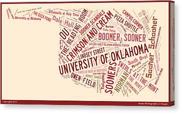 Oklahoma University Canvas Print - Ou Word Art University Of Oklahoma by Roberta Peake