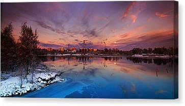 Oulu Moonrise Panorama Canvas Print by Sandra Rugina