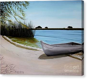 Canvas Print featuring the painting Our Beach by Elizabeth Robinette Tyndall