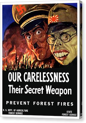 Our Carelessness - Their Secret Weapon Canvas Print by War Is Hell Store