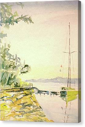 Watercolor With Pen Canvas Print - Our Cove Escape by Jill Morris