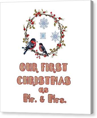 Canvas Print featuring the painting Our First Christmas Watercolor Bullfinches by Georgeta Blanaru