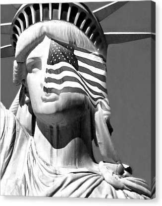 Staten Island Ferry Canvas Print - Our Lady Black And White by Diana Angstadt