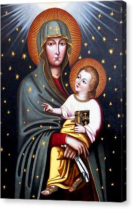 Our Lady Of Fatima Holy Mother With Child Canvas Print by Magdalena Walulik
