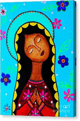 Canvas Print featuring the painting Our Lady Of Guadalupe II by Pristine Cartera Turkus