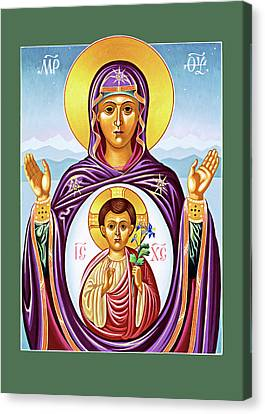 Byzantine Icon Canvas Print - Our Lady Of The New Advent by Munir Alawi