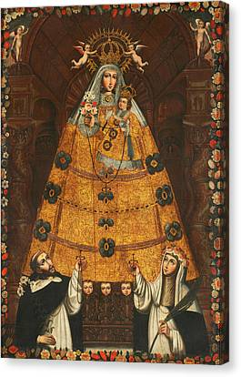 Saint Dominic Canvas Print - Our Lady Of The Rosary With Saint Dominic And Saint Rose  by Mountain Dreams