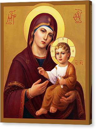 Canvas Print featuring the painting Our Lady Of The Way - Virgin Hodegetria by Svitozar Nenyuk
