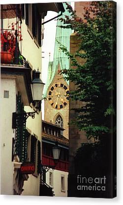 Our Ladys Minster Church In Zurich Switzerland Canvas Print by Susanne Van Hulst