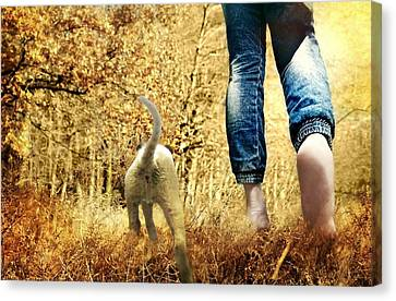 Dog Walking Canvas Print - Our Morning Walk by Diana Angstadt