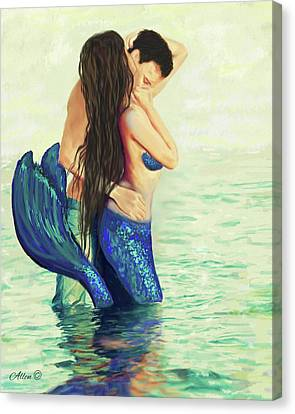 Canvas Print featuring the painting Our Treasured Love by Leslie Allen