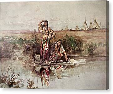 Native American Clothes Canvas Print - Our Warriors Return by Charles Marion Russell