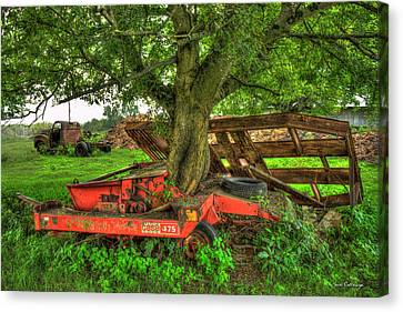 Out At Last Case Ih 475 Hay Binder Canvas Print