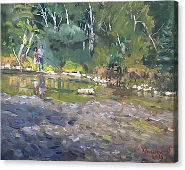 Williams River Canvas Print - Out Fishing With Viola  by Ylli Haruni