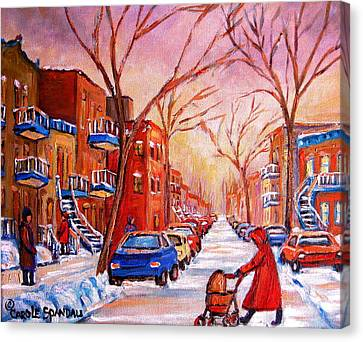 Canvas Print featuring the painting Out For A Walk With Mom by Carole Spandau