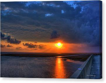 Out From Under The Storm Jekyll Island Sunset Art Canvas Print by Reid Callaway